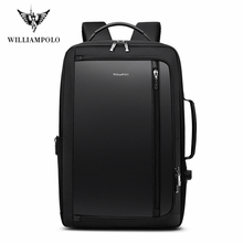 WilliamPolo Men Luxury Backpack Multifunctional Waterproof Travel Business Anti Theft Backpack USB Charge Travel Notebook Bag
