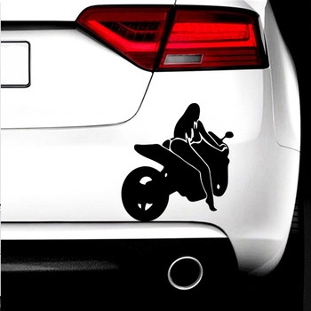 Beauty Woman Motorbiker Auto Sticker Funny Window Vinyl Decals Car Styling Self Adhesive Emblem Car Stickers image