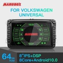 MARUBOX Radio Multimedia con GPS para coche, Radio con reproductor, Android 10, 2 Din, 8 núcleos, 4G, 64G, KD8101, para VW/Volkswagen/POLO/PASSAT/Golf