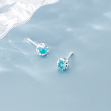 Luxury Sapphire Sterling Silver Stud Earrings For Women