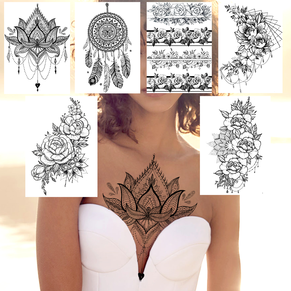 Fake Jewelry Temporary Tattoo Waterproof Black Henna Flower Wristband Tatoo Women's Fashion Body Art Chest Arm Tatoo For Holiday