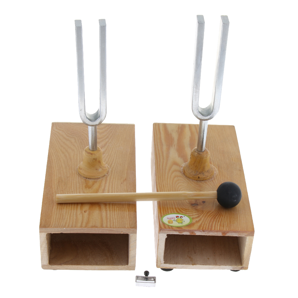 2pcs Resonant Tuning Fork On Wooden Resonant Box For School Teaching