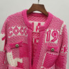 Wool 2020 Autumn Winter Elegent Classic Knitted Cardigan Sweater for Woman Clothing Luxury Designer Street Wear 3
