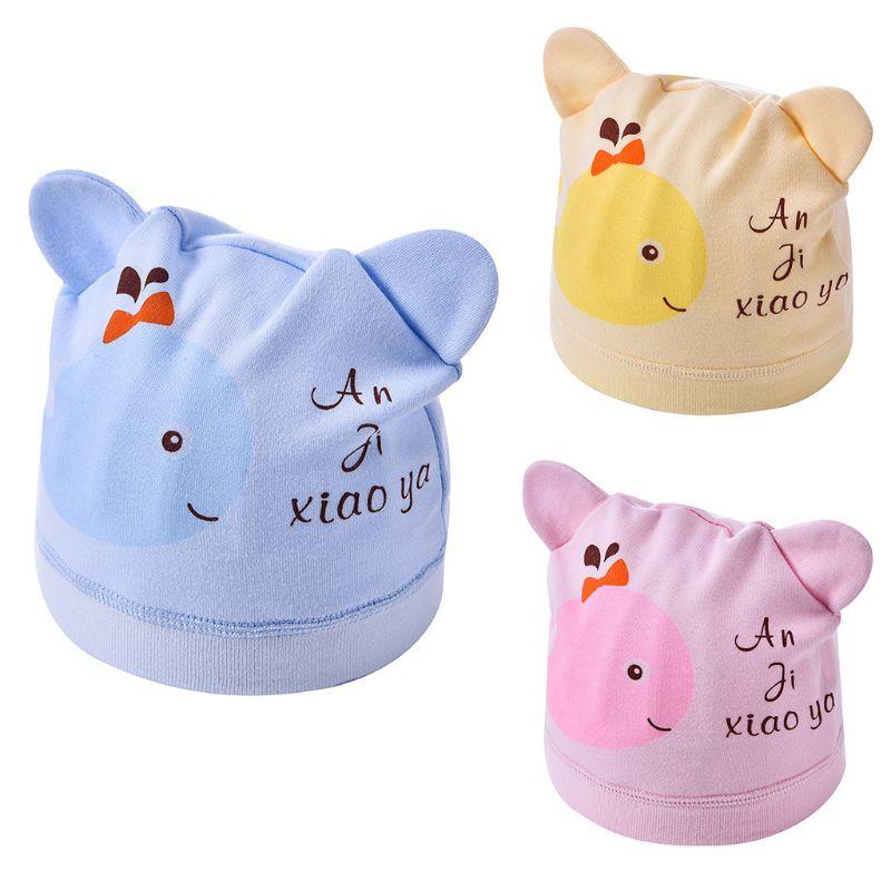 Infant Baby Cute Bear Ears   Beanie   Hat Cartoon Whale Printed Ribbed Hem Stretchy Wide Band Newborn Winter Warm Hospital Cap 0-6M