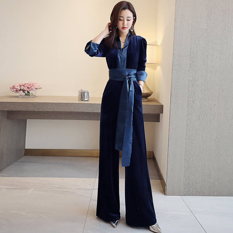 Royal Sister Fan Deep V-neck Long-sleeved Waist Velvet Jumpsuit Wild Wide Leg Trousers Female 2019 Autumn New