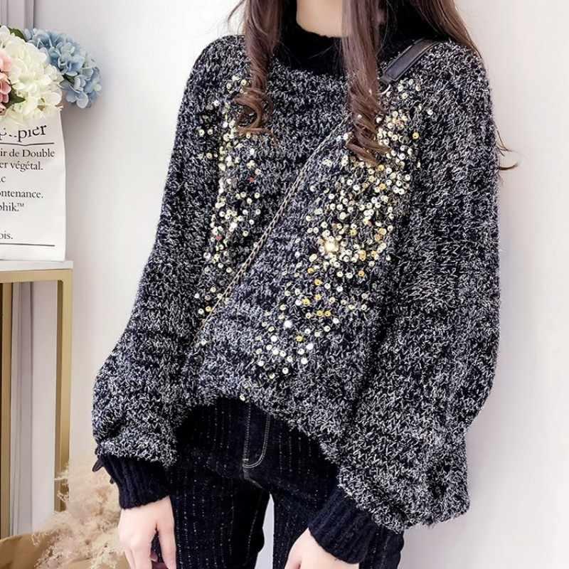 甘いスパンコール刺繍長袖セーターの女性 2020 新ファッション秋のルースプルオーバーニットセーター女性白/黒