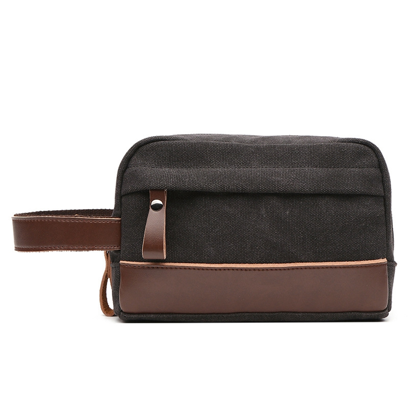 Toiletry Beauty Case Bag Leather Trim Canvas Shaving Dopp Case Neceser Travel Cosmetic Makeup Bag Organizer Pouch Black