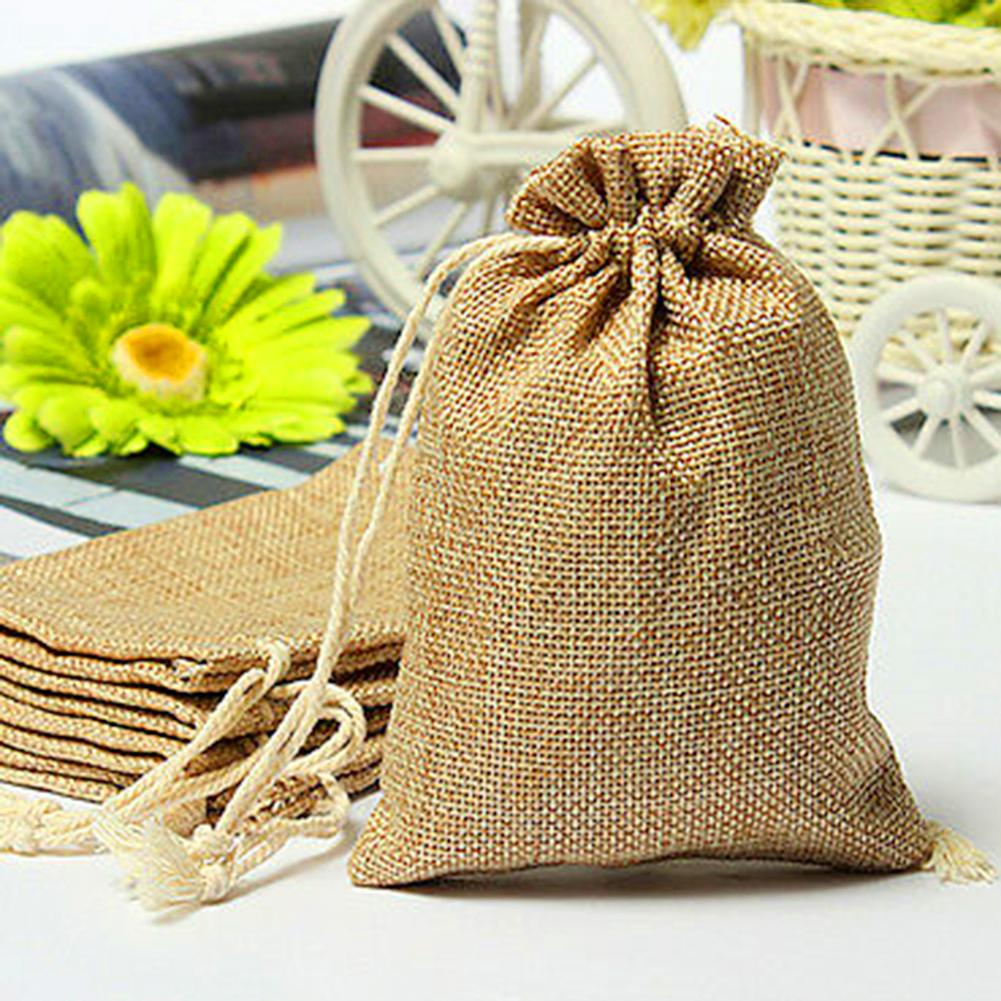 5Pcs Linen Gift Drawstring Bag Travel Package Cosmetic Coin Storage
