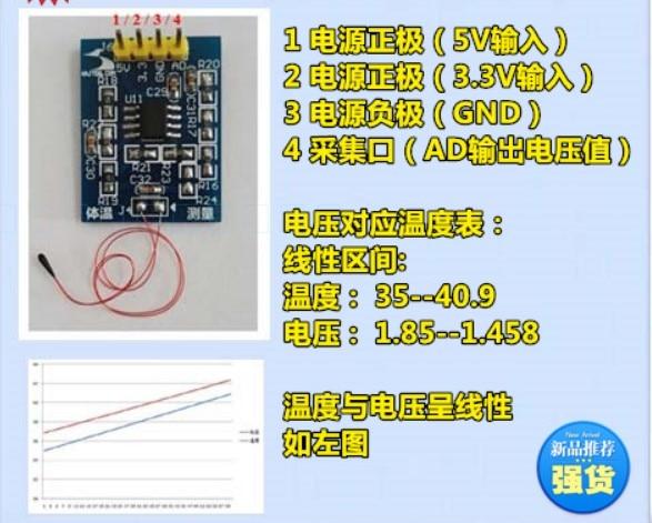Taidacent Measuring Skin Wristband Temperature Sensors Module I2C MAX30205 Small Human Body Temperature Sensor For Alarm System