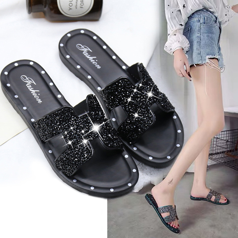 Bling Mules Women Summer Beach Shoes 2020 Fashion Rhinestone Girls Slippers Light Concise Ladies Slippers