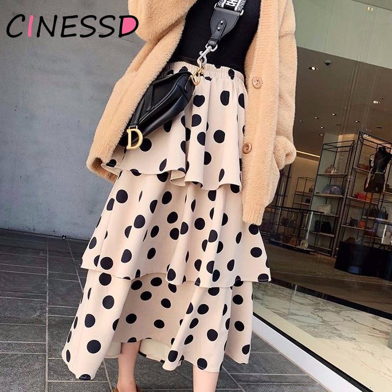 Sweet Polka Dot Print Cake Skirts Women High Waist Black Khaki Long Skirts Female Autumn Harajuku Plus Size Pleated Skirt Party