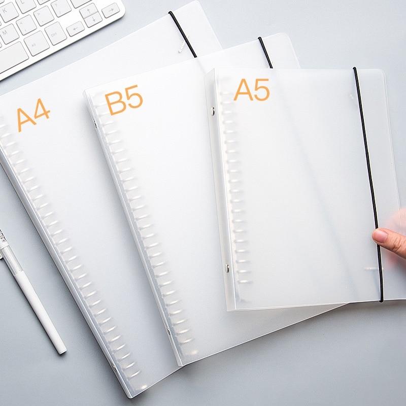PP Matte Transparent A4 A5 B5 26 Holes Loose-Leaf Inner Core Notebook Case Notebook Shell A4 Metal Binder Clips