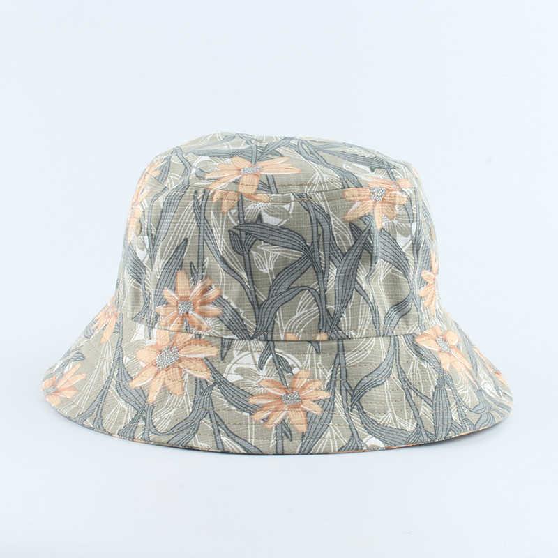 Baru Panama Ember Topi Pria Wanita Musim Panas Bernapas Ember Cap Cetak Kapas Bob Topi Hip Hop Topi Topi