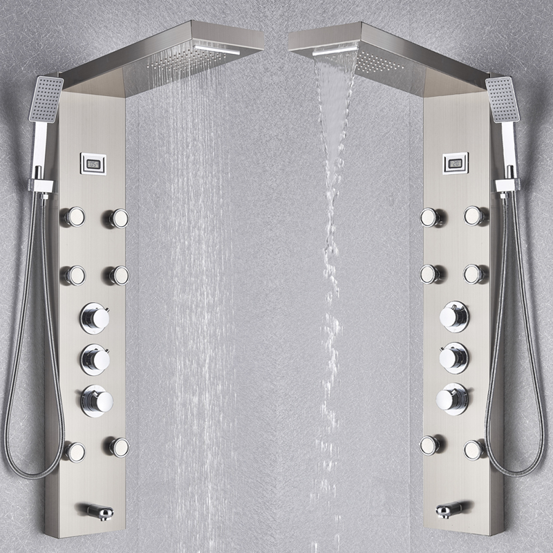 Image 4 - Black/Brushed Nickel Thermostatic Mixer Shower Panel Rainfall Waterfall Massage Jets Shower Column Shower Faucet Shower SetShower Faucets   -