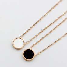 Trendy Women Pendant Necklaces Rose Gold Round  Black/white Shell Link Chain Necklace for Women Stainless Steel Female Jewelry недорого