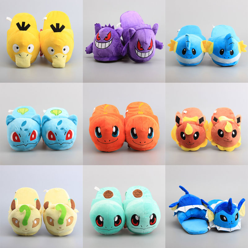24 Styles Anime Pikachu Eevee Charmander Cosplay Shoes Plush Stuffed Toys Doll Home Wear Winter Warm Slippers For Women Kids
