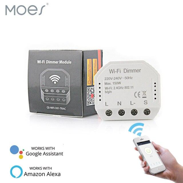 Luz WiFi inteligente LED de bricolaje regulador de intensidad Smart Life/Tuya Control de aplicación remota interruptor de 1/2 vías, funciona con Alexa Echo Google Home