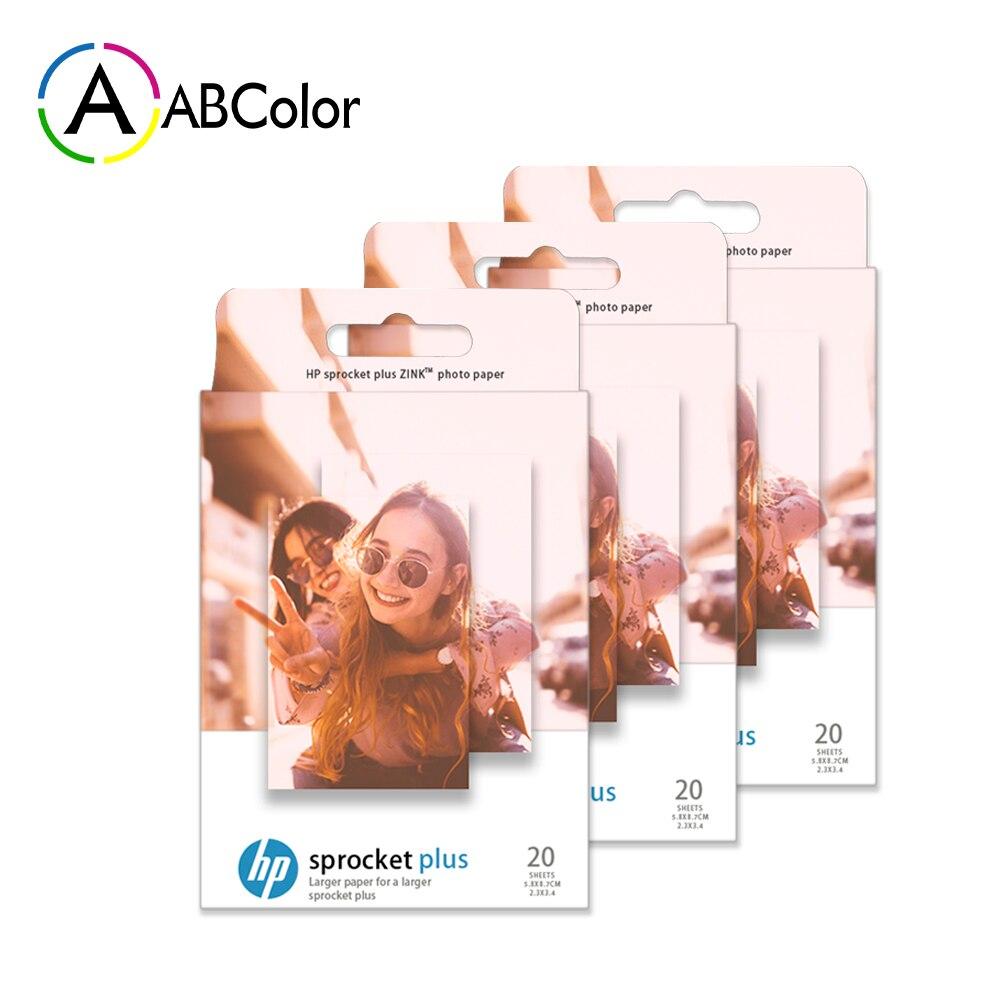 Bir ABCOLOR 3 kutu fotoğraf kağıdı HP dişli artı fotoğraf yazıcı için çinko dişli artı yapışkan destekli fotoğraf kağıt