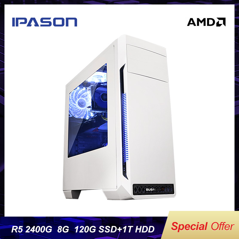 Mini Gaming PC IPASON A3 PLUS AMD Ryzen5 2400G Upgrade 3400G DDR4 8G RAM/1T+120G SSD Windows 10 English Version Desktop Computer