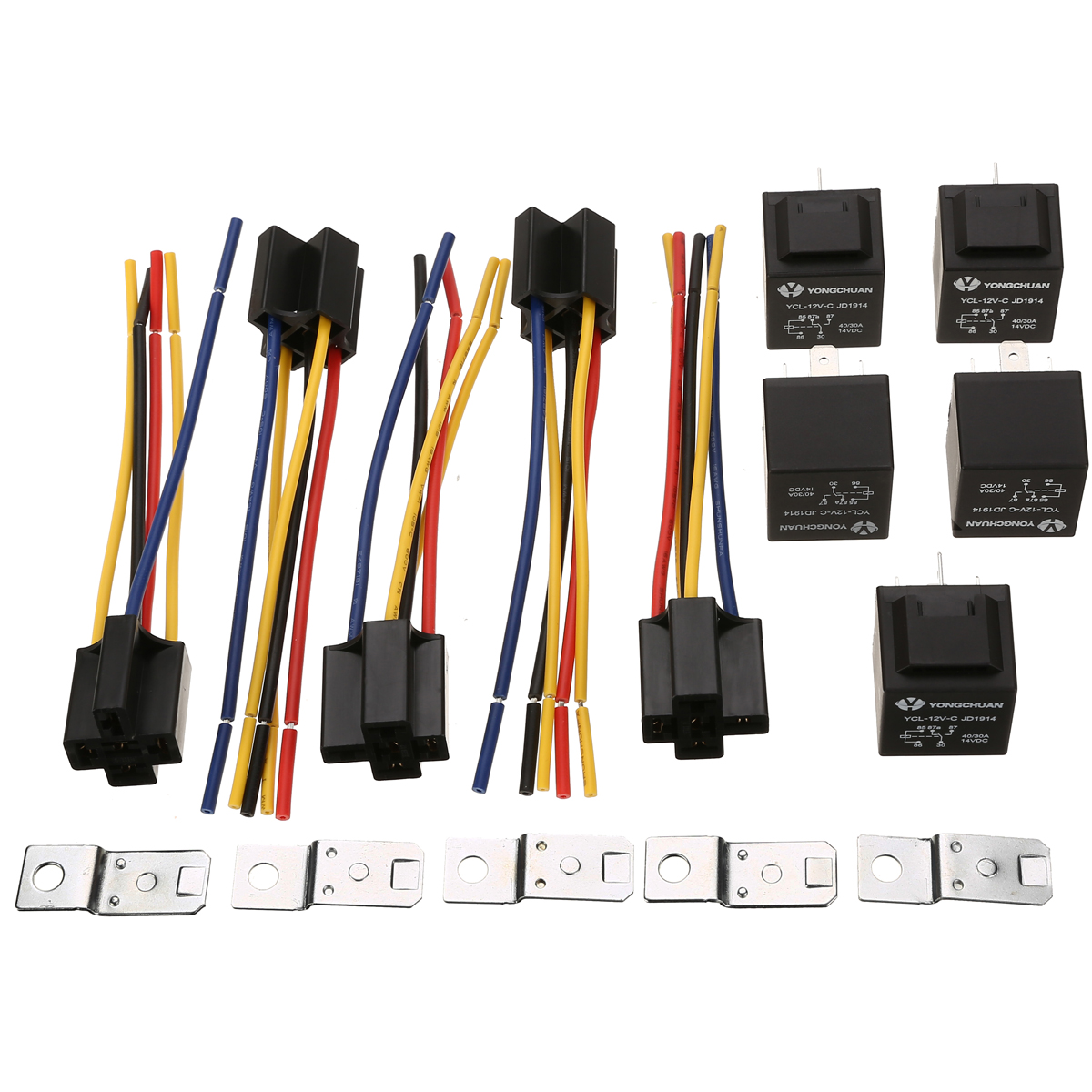 5 Set Car Auto Relay & Socket SPDT 5 Pin 5 Wire <font><b>DC</b></font> 12V <font><b>12</b></font> Volt <font><b>40A</b></font> AMP Black Truck Accessories image
