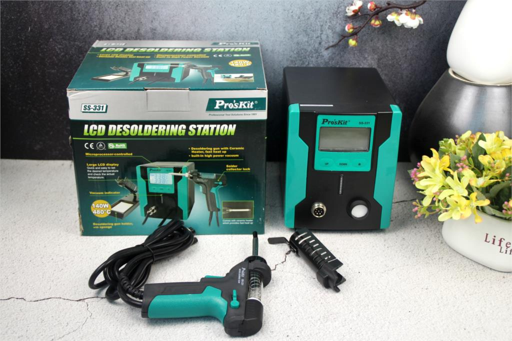 Pro'sKit SS-331H ESD LCD Digital BGA Entlöten Saug Elektrische Absorbieren schlafen funktion Entlötpumpe Solder Sucker Gun