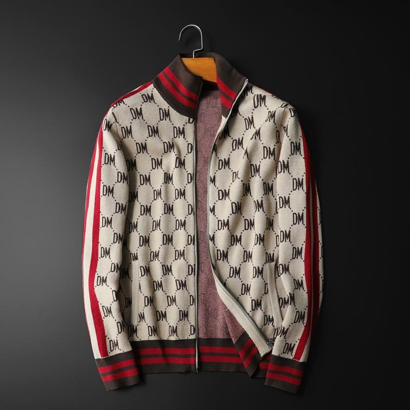 New Men Luxury Winter Gentleman Embroidery DM Striped Knit Casual Sweaters Cardigans Asian Plug Size High Quality Drake #M94