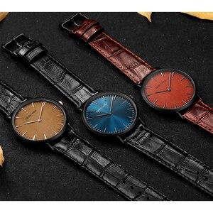 Image 5 - GEEKTHINK Top Brand Luxury Quartz watch men Business Casual Black Japan quartz watch genuine leather ultra thin clock male New