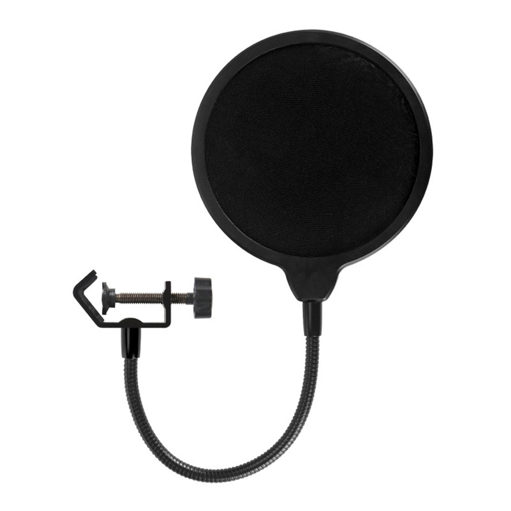 Professional Clamp On Microphone Pop Filter Bilayer Recording Spray Guard With Anti-Spray Spray Network For Yeti
