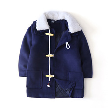 купить Winter Thicken Wool Collar Windproof Warm Child Coat Cotton Filler Baby Girls Boys Jackets Children Outerwear For 2-8 Years Old онлайн