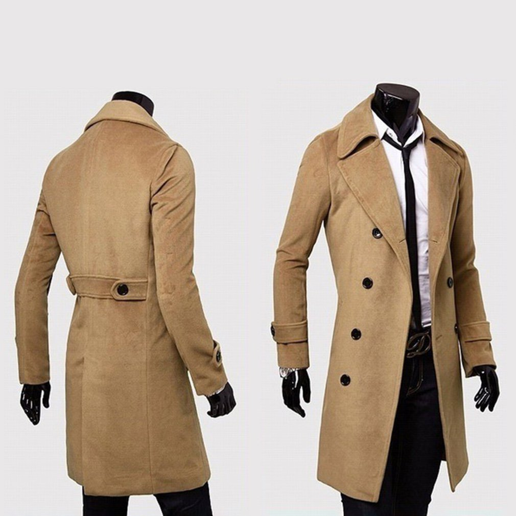 Fashion Men Turndown Long Coat Autumn Winter Outerwear Solid Color Jacket Double-Breasted All-Match Male Overcoat