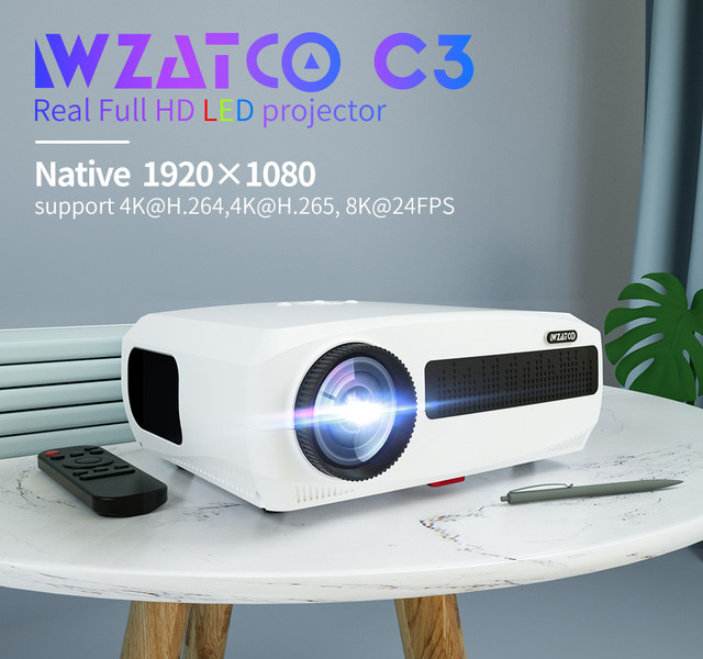 WZATCO C3 4K Full HD 1080P LED Projector Android 10 Wifi Smart Home Theater projector 1