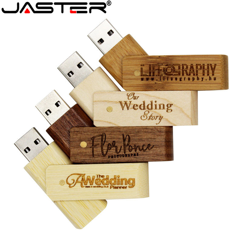 JASTER Natural Walnut Swivel Usb With Square Box Usb 2.0 4GB/8GB/16GB/32GB/128GB Memory Flash Stick (Over 10 Pcs Free Logo)