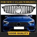 C Класс W205 GTR Решетка хром передний бампер сетка GT R гриль для Benz W205 c-класс 2015 + Автомобильный Стайлинг с/отверстие для камеры отсутствует