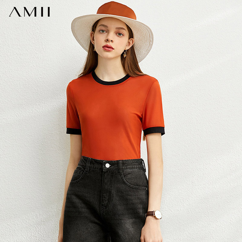 Amii Minimalism Spring Summer Solid Thin Shirt Women Causal Oneck Slim Blouse 12040144