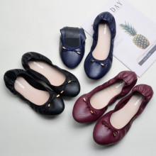 High Quality Fashion Flat Shoes Elegant Comfortable Women Flats Bowknot Mocassin Femme Foldable Round Toe Leather Women Loafers