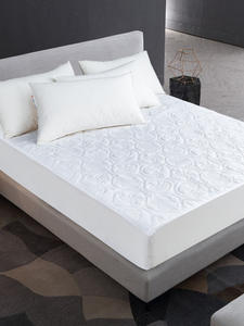 Cover Mattress-Protector QUILTED White Waterproof Solid-Color Sheet-Style for Thick Soft-Pad