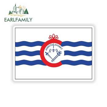 EARLFAMILY 13cm x 8.7cm For Cincinnati City Flag Ohio Comic Decal Sunscreen Personality Creative Sticker Suitable For GTR SX VAN image