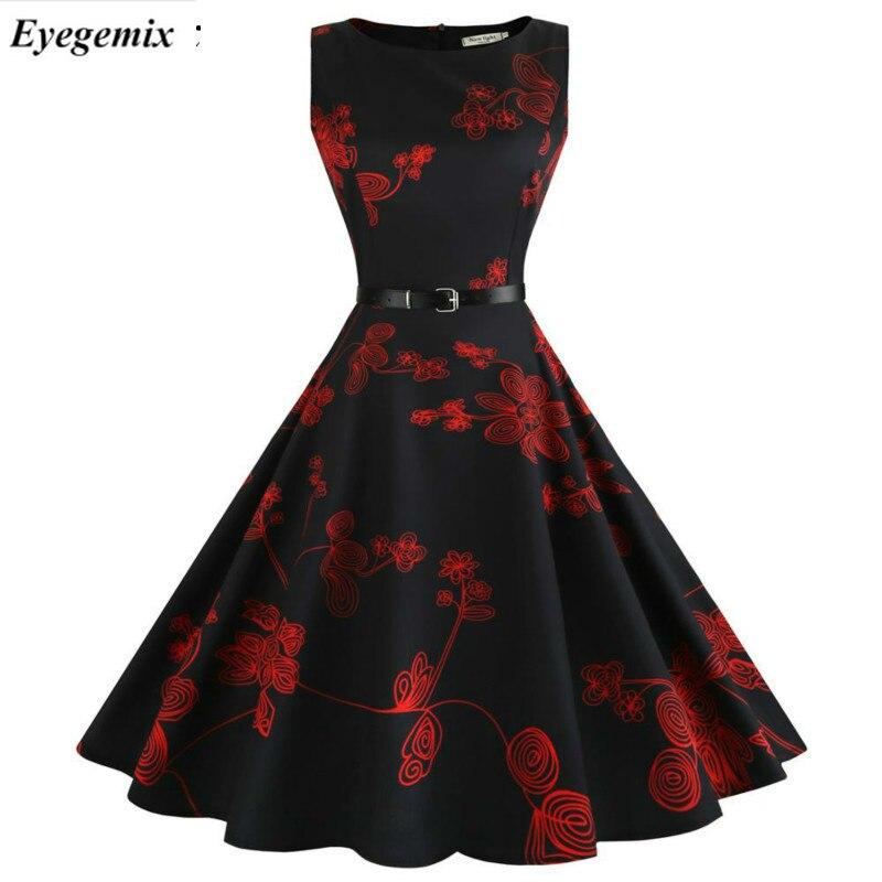 Летние женские платья 2021 повседневная обувь с цветочным узором в стиле ретро; Обувь с ретро стиль 50-х 60-х годов халат рокабилли качели Vestidos Д...