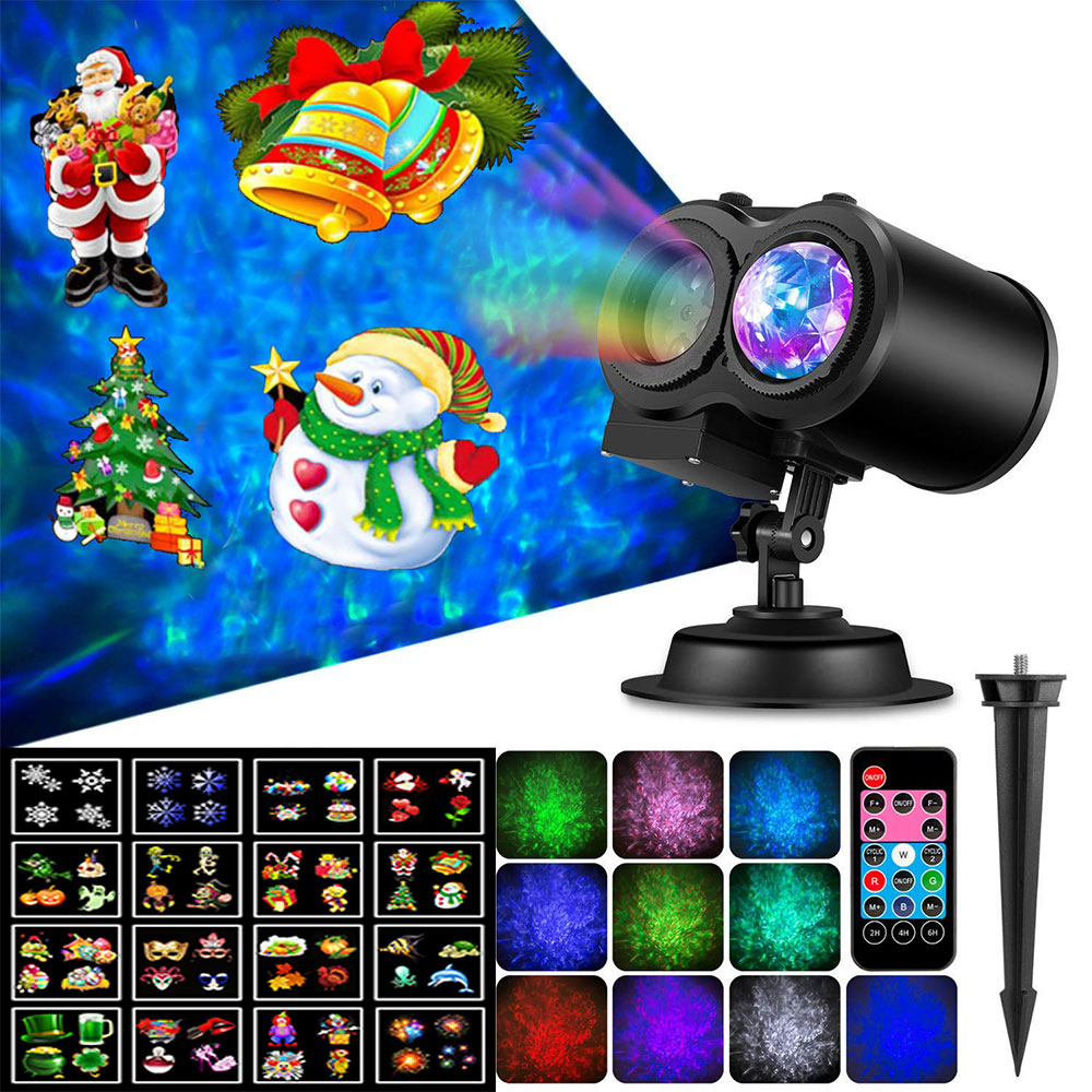 LED Spotlight Projector With Remote Control Waterproof Landscape Flood Light Christmas Party Decoration Water Wave Lamp N8