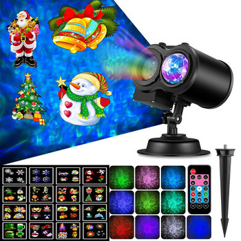 LED Spotlight Projector With Remote Control Waterproof Landscape Flood Light Christmas Party Decoration Water Wave Lamp N8 цена 2017