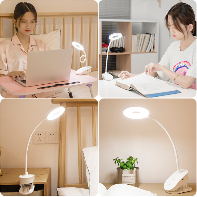 Flexo Table Lamp Led Desk Lamp Touch Clip Study Lamps Magnifier Gooseneck Desktop usb Table Light Rechargeable 18650 Battery Home Decor & Toys
