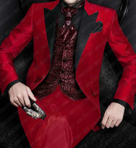 ANNIEBRITNEY Mens Wedding Suits Set 2019 Italian Design Custom Made Red Smoking Tuxedos Jacket 3 Piece Groom Terno Suits For Men