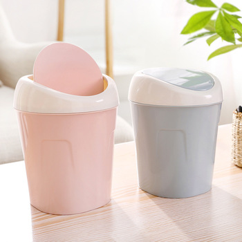 Plain Living Room Offee Dable Desktop Shake Lid Small Trash Can Guest Household Mini Trash Can image