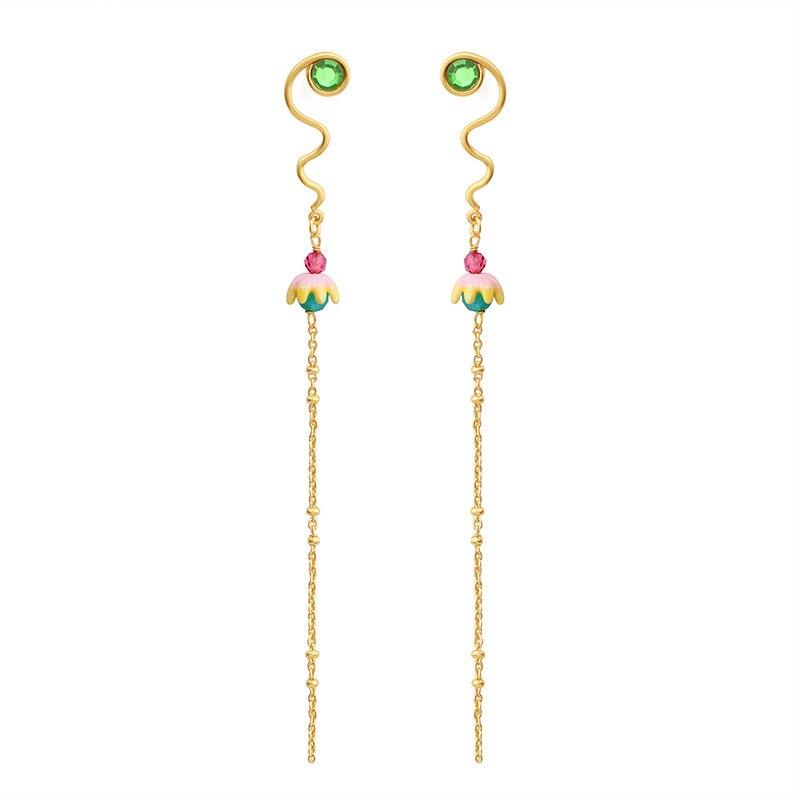 Coréen longues boucles d'oreilles sauvages émail glaçure mignon belles fleurs gland gemme boucles d'oreilles pour les femmes bijoux