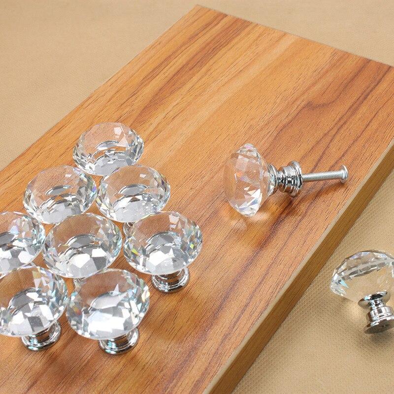 Peso Ligero 30 mm Diamante Cristal Cristal Aleaci/ón Caj/ón de la Puerta Manija Manual Bar Gabinete Armario Tirador Tirador Manillas