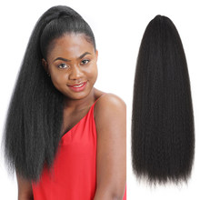 Kinky reta rabo de cavalo para preto feminino sintético cordão afro yaki cabelo extensões 21.6 polegadas longo rabo de cavalo