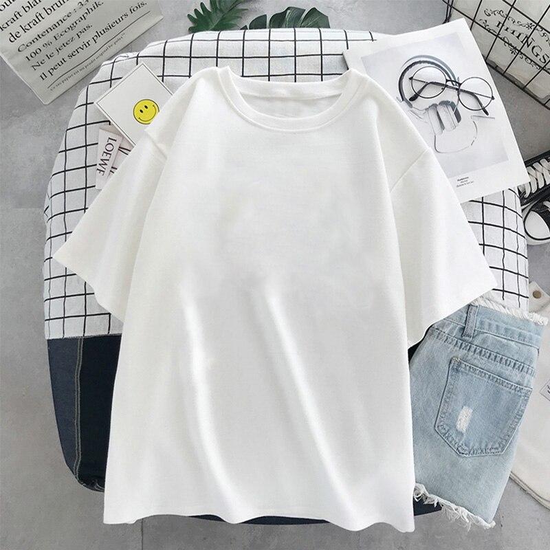 Футболка женская оверсайз в стиле Харадзюку, модный топ чистого белого цвета, модная рубашка в черном цвете, в эстетическом стиле, для отдых...