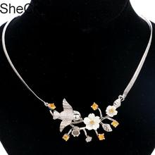 New Arrival Songbird Golden Citrine Freshwater Shell Ladies Party Silver Necklace 18-18.5in 55x27mm
