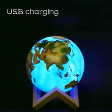Светодиодный светильник с 3d принтом moon earth 16 цветов ночник