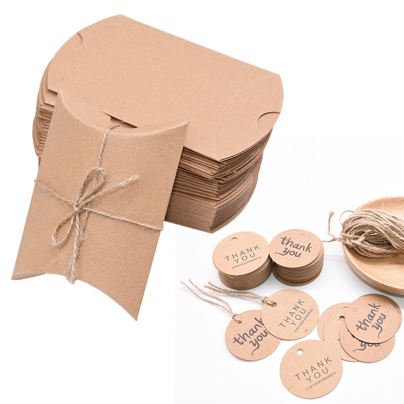 10pcs/lot Cute Kraft Paper Pillow Favor Box Wedding Party Favour Gift Candy Boxes With Tags Home Party Birthday Supply
